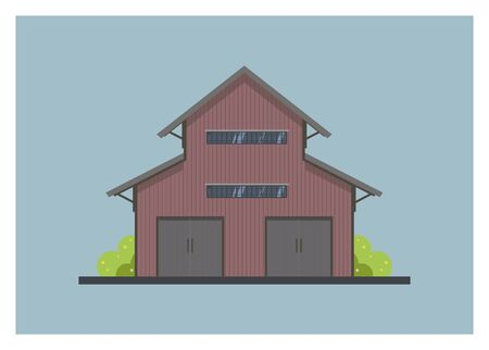 Multi storey wooden warehouse. Front view, simple illustration Illustration