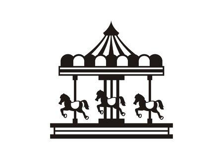 Ilustración simple carrusel con tres caballos.