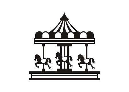 Carousel simple illustration with three horses