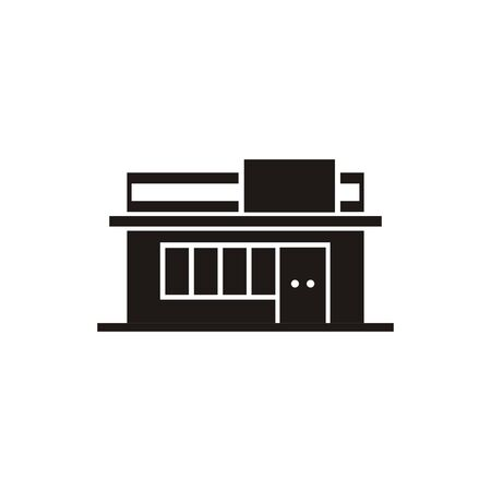 Convenience store building. Simple black and white icon