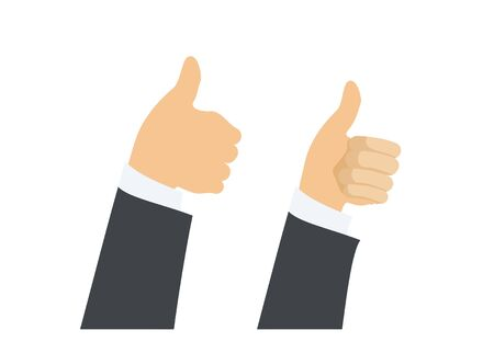 Businessman figure giving two thumbs up sign. Simple illustration Illustration