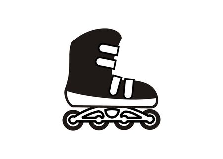 Roller skate shoes simple illustration in black and white. Illustration