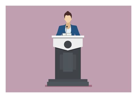 Female speaker giving speech on a podium. Simple flat illustration.