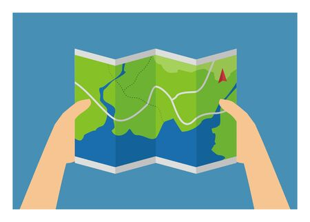 Hand holding a map sheet. Simple illustration. Illustration