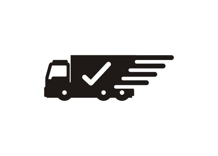 Simple icon of fast and trusted trucking delivery.  イラスト・ベクター素材