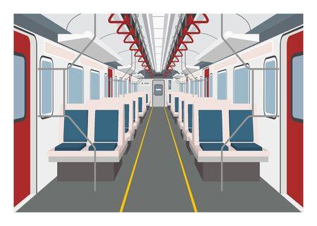 Commuter train interior. Simple illustration in perspective view. Vektoros illusztráció