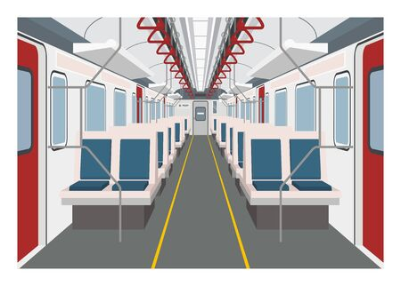 Commuter train interior. Simple illustration in perspective view.