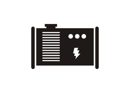 Generator engine. Simple icon in black and white.