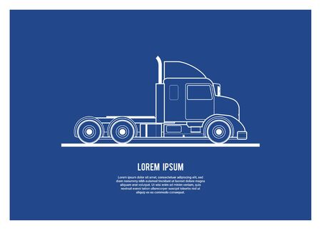 Hooded container truck head simple illustration in blue print style Illustration