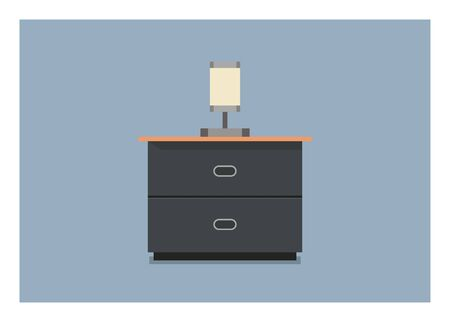 Nightstand with bedside lamp. Simple flat illustration.