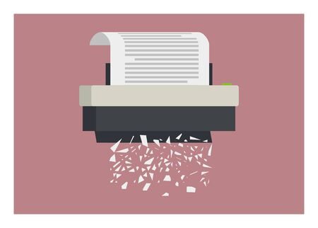 Paper shredder with paper flakes simple illustration