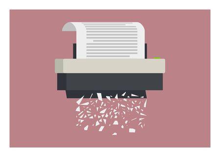 Trituradora de papel con ilustración simple de hojuelas de papel