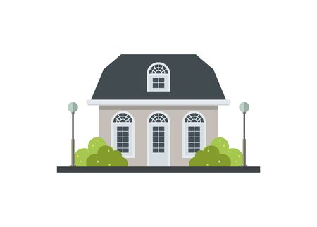 Small house building with front garden. Simple illustration.