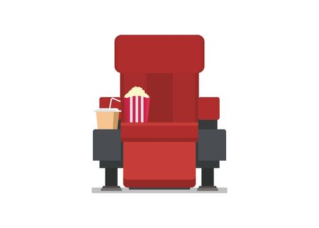 Movie theater red seats with leg rest. Simple illustration