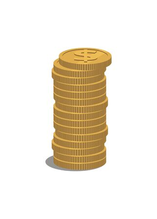 Dollar coin tall stack. Simple illustration.