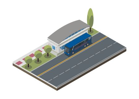 Bus stop with pedestrian and empty road. Simple illustration in isometric view.