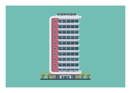 Tall hotel building. Simple flat Illustration.
