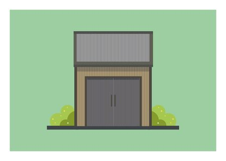 Small wooden shed building with tin roof. Simple illustration.
