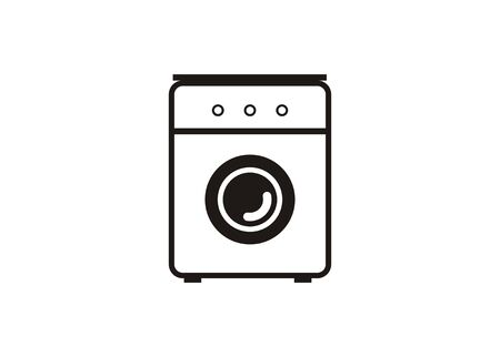 Washing machinelaundry service. Simple icon in black and white.  イラスト・ベクター素材