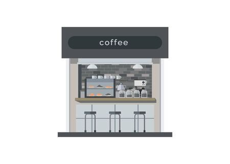 Mini coffee shop building. Simple flat illustration.  イラスト・ベクター素材