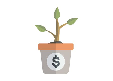 Growing plant. Investment concept. Simple flat icon.
