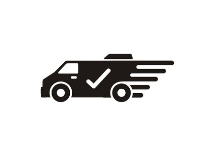 Fast and trusted delivery service by car van. Simple icon in black and white.