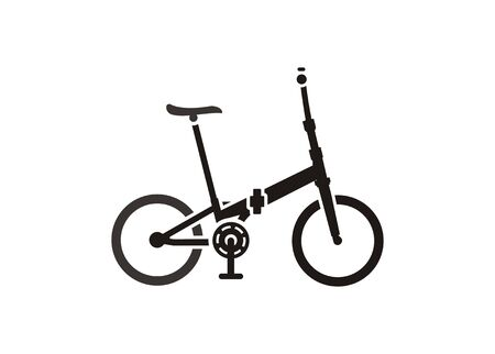 Folding bike. Simple icon in black and white.