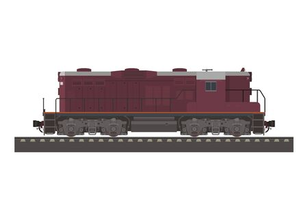 Electric diesel locomotive. Simple flat illustration.