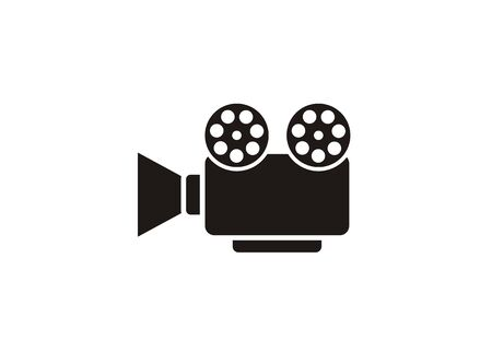Movie projector with film roll simple icon