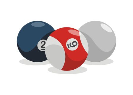 Three billiard balls. Simple flat illustration