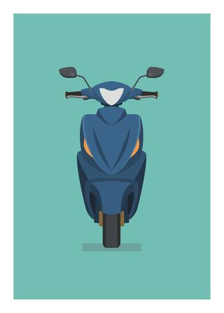 Automatic motorcycle. Front view. Simple flat illustration