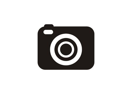 Pocket digital camera. Simple icon in black and white.