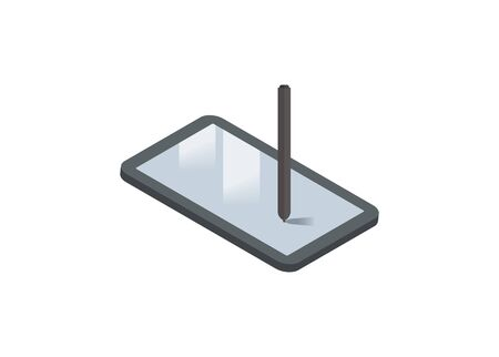 Digital sketchpad. Simple illustration in isometric view.