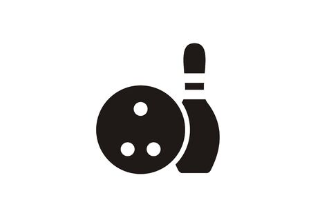 Bowling ball and the pin. Simple icon in black and white.