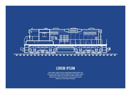 Electric diesel locomotive. Simple blueprint illustration.