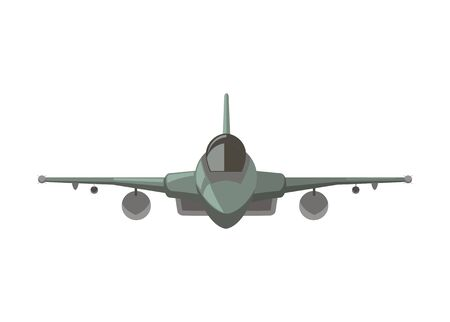 Single tail jet fighter. Simple illustration. Front view.