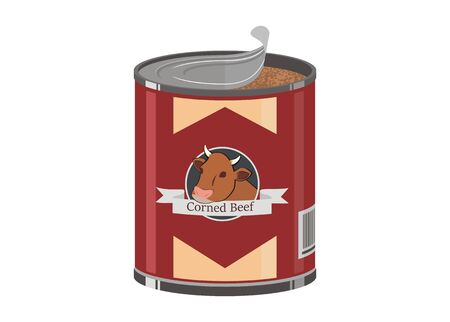 Opened tall corned beef can simple illustration  イラスト・ベクター素材