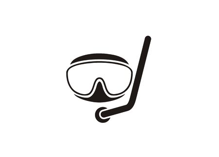 Scuba goggles. Diving goggles. Simple icon in black and white.