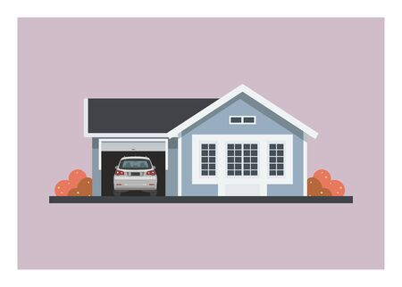 Small home with a car in its opened garage.  イラスト・ベクター素材