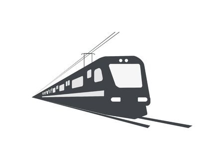 Streamline electric commuter train. Silhouette illustration. Perspective view.