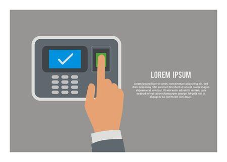Hand pushing attendance machine button. Simple flat illustration