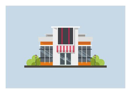 Minimalist building for office or shop. Simple flat illustration