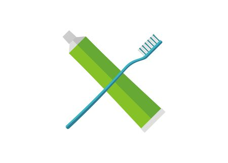 Tooth brush and tooth paste. Simple flat illustration.