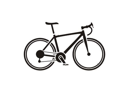 Road bike. Simple icon in black and white