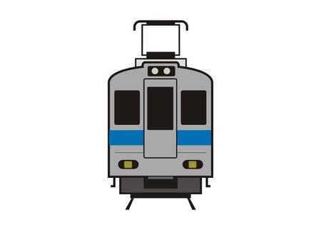 Electric commuter train car. Front view. Simple illustration