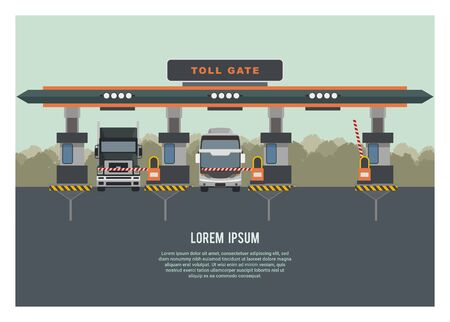 Group of vehicle entering highway gate, with one gate opened. Trees silhouette background. Simple Illustration.