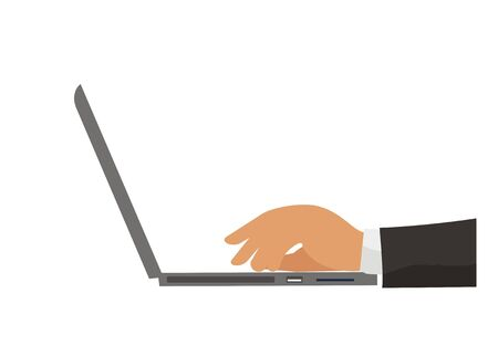Businessman hand typing laptop. SImple illustration.