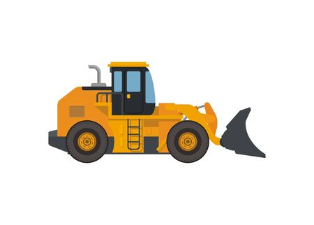 Wheel buldozer. Simple flat illustration