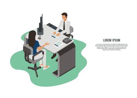 Male customer service serving a female client, simple illustration Illustration