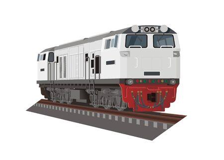 Locomotora diésel eléctrica. Ilustración simple en vista en perspectiva. Ilustración de vector